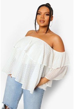 לבן White Plus Off The Shoulder Dobby Mesh Top