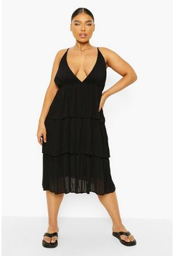 Black Plus Cheesecloth Strappy Tiered Midi Dress