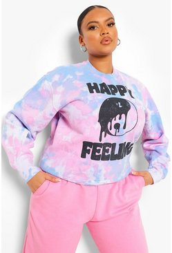 Baby pink pink Plus Tie Dye Happy Feeling Sweatshirt
