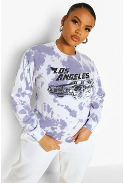 Baby blue blue Plus Tie Dye La Car Sweatshirt
