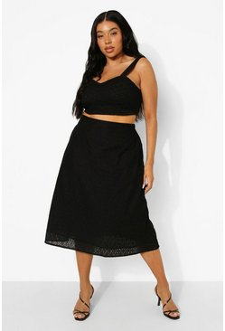 Plus Broderie Crop And Midi Skirt Co-ord, Black nero