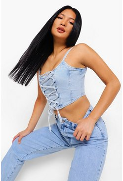 Light blue blue Petite Denim Lace Up Corset Top