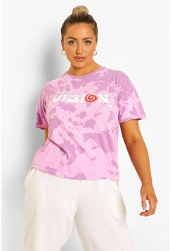 Bright pink pink Plus Acid Tie Dye Vision Short Sleeve T-Shirt