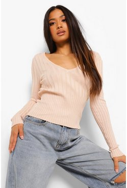 Nude Petite Knitted Rib V Neck Top