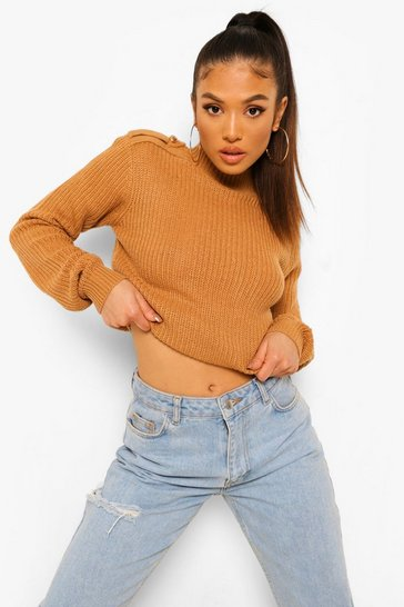 Camel beige Petite Knitted Button Detail Jumper
