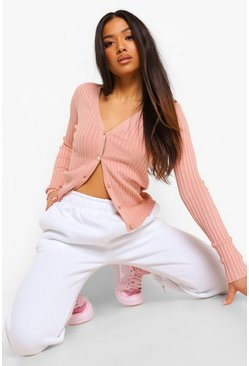 Petite Knitted Rib Button Through Cardigan, Rose