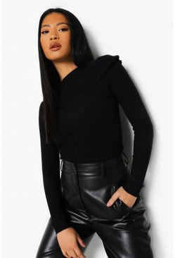 Black Petite Knitted Frill Shoulder Sweater