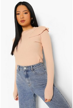 Nude Petite Knitted Frill Shoulder Sweater