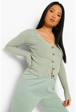Sage green Petite Knitted Rib Button Through Cardigan