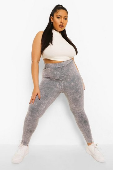 Grey Plus Acid Wash Leggings