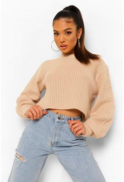 Biscuit beige Petite Fisherman Knit Puff Sleeve Sweater