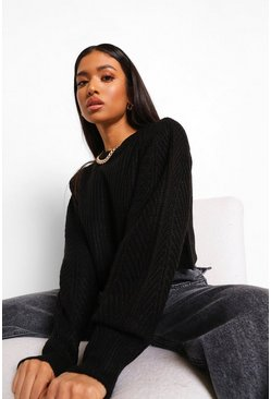 Black Petite Fisherman Knit Puff Sleeve Jumper