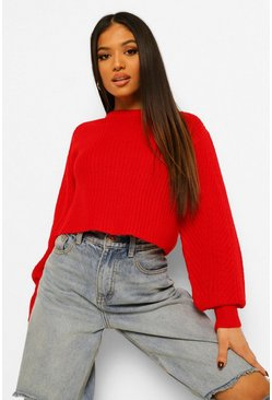 Red Petite Fisherman Knit Puff Sleeve Sweater