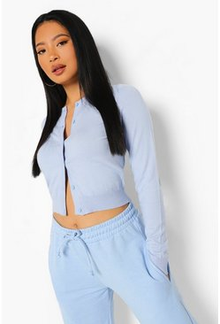 Pale blue blue Petite Soft Knit Crop Cardigan