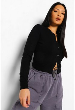 Petite Soft Knit Crop Cardigan, Black schwarz