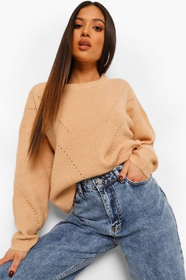 Biscuit beige Petite Knitted Pointelle Detail Jumper