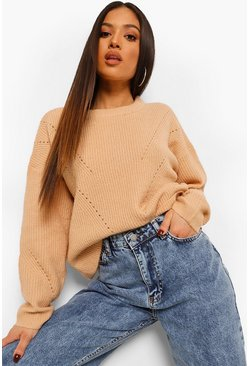 Biscuit beige Petite Knitted Pointelle Detail Sweater