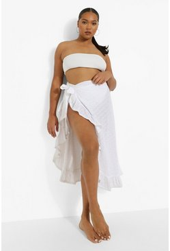 White Plus Broderie Ruffle Beach Sarong