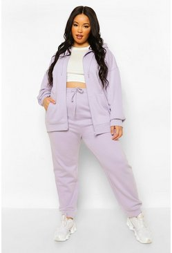 Lilac purple Plus Joggingbroek Met Touwtjes En Geribbelde Taille Band En Zoom