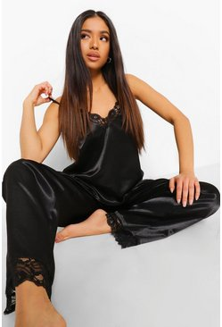 Black Petite Lace Trim Satin Pj Trouser Set