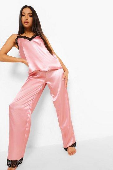 Blush pink Petite Lace Trim Satin Pj Trouser Set