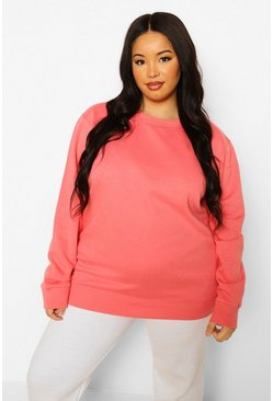 Coral pink Plus Basic Oversized Sweater