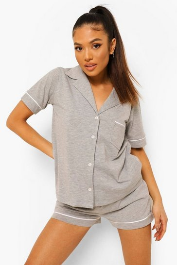 Grey Petite Jersey Button Down Pj Short Set