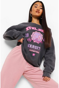 Charcoal grey Petite Oversized Gebleekte Varsity Sweater