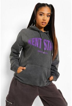 Grey Petite Kent State Washed Oversized Hoody, Charcoal gris