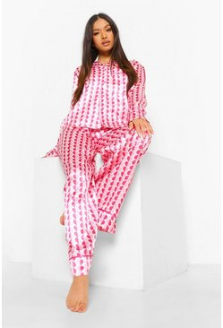 Pink Petite Heart Print Wide Leg Pj Trouser Set