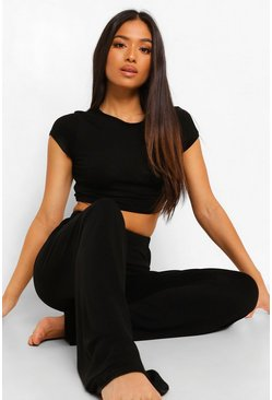 Black Petite Crop Top And Wide Leg Pj Trouser Set