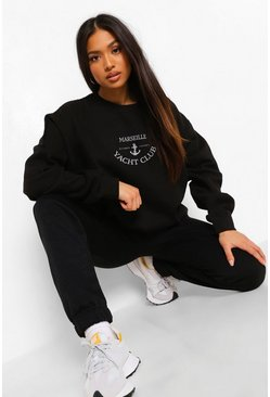 Black Petite Marseille Slogan Sweat