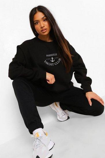 Black Petite Marseille Slogan Sweatshirt