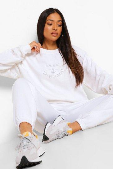 White Petite Marseille Slogan Sweatshirt