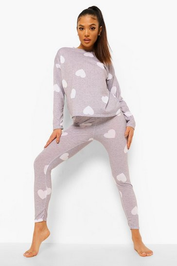 Grey Petite Heart Print Pj Trouser Set
