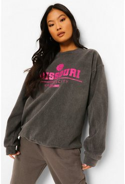 Charcoal grey Petite Missouri Washed Oversized Sweatshirt
