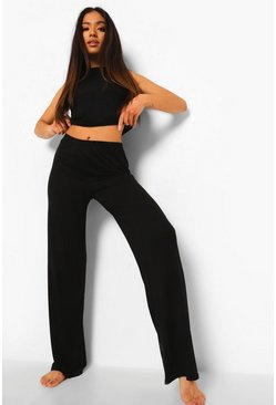 Black Petite Racer Top And Wide Leg Pj Trouser Set