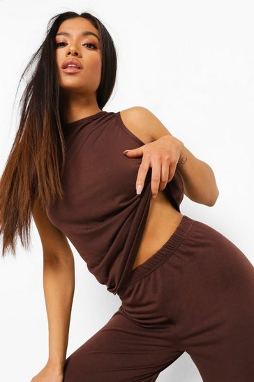 Chocolate brown Petite Racer Top And Wide Leg Pj Trouser Set