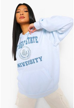 Blue Petite Georgia State Oversized Washed Hoody