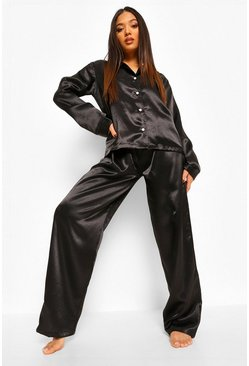 Black Petite Satin Oversized Long Sleeve Pj Set