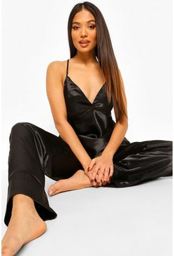 Black Petite Satin Cross Back Pj Trouser Set