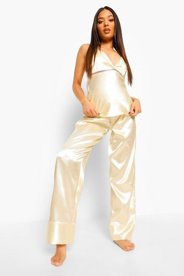 Champagne beige Petite Satin Cross Back Pj Trouser Set