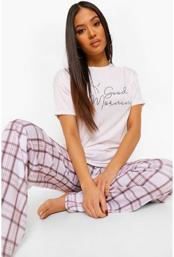 "Set pigiama con pantaloni con scritta ""Good Morning"" Petite, Bianco"