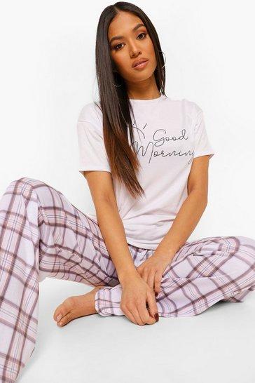 White Petite 'Good Morning' Pj Trouser Set