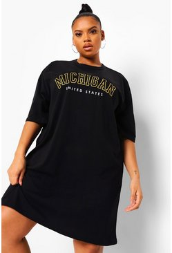 Black Plus Michigan Oversized T-shirt Dress