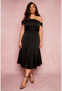 Black Plus Bridesmaid Bardot Midi Dress