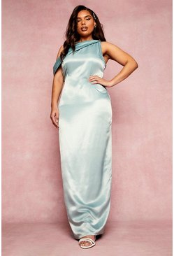 Sage green Plus Bridesmaid Slash Neck Maxi Dress