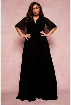Black Plus Bridesmaid Pleated Cape Maxi Dress