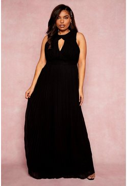 Black Plus Bridesmaid Cut Out Pleated Maxi Dress