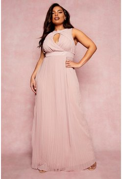 Dusky pink pink Plus Bridesmaid Cut Out Pleated Maxi Dress